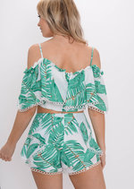 Palm Print Frill Bardot Top Shorts Co Ord Set Green