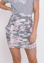 Pastel Camo Bodycon Skirt Pink