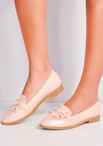 Patent And Faux Suede Contrast Fringed Loafers Pink