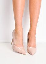 Patent Stiletto Pointed High Heels Beige