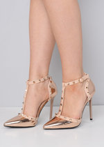Patent Studded T-Bar Strappy Court Heels Rose Gold