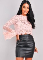 Patterned Lace Flute Sleeve Crop Top Pink