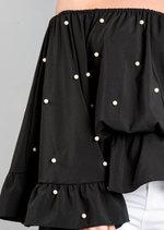 Pearl Embellished Off The Shoulder Peplum Top Black