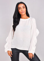 Pearl Front Frill Sleeve Blouse Top White