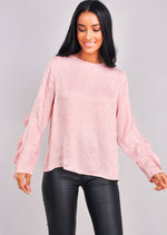 Pearl Front Frill Sleeve Blouse Top Pink