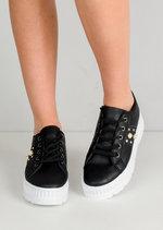 Pearl Glitter Flatform Lace Up Trainers Black
