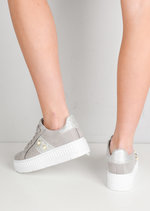 Pearl Glitter Flatform Lace Up Trainers Grey
