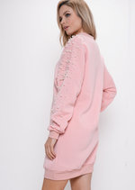 Pearl Longline Sweatshirt Jumper Dress Pink