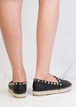 Pearl Studded Espadrilles Pumps Black