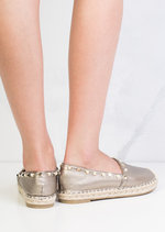 Pearl Studded Espadrilles Pumps Metallic Grey