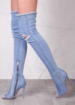 Peep Toe OverThe Knee Boots Stiletto Ripped Denim Mid Blue