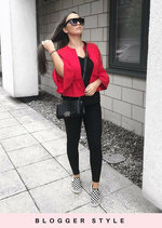 Peplum Frill Tailored Blazer Jacket Red
