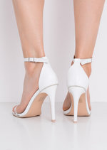 Perspex Strap Heeled Sandals White