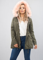 Baby Pink Faux Fur Hooded Full Fleece Parka Coat Khaki Green