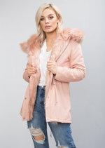Pink Faux Fur Hooded Parka Coat Pink