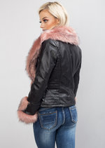 Pink Faux Fur Lined PU Biker Jacket Black