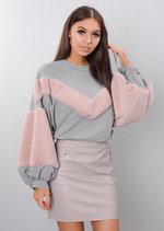 Pink Faux Fur Stripe Balloon Sleeve Sweatshirt Jumper Grey