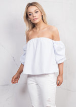 Pinstripe Puff Short Sleeve Bardot Crop Top White