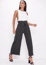 Polka Dot Pleated Cropped Wide Leg Culotte Trousers Black