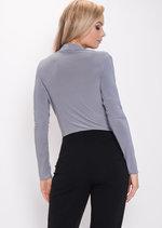 Pleated Long Sleeve Plunge Bodysuit Grey