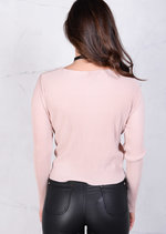 Pleated Plunge Neckline Wrap Over Long Sleeve Crop Top