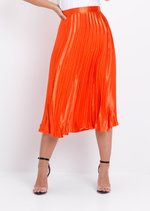 Pleated Satin Metallic Midi Skirt Orange
