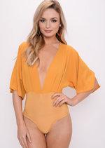 Plunge Batwing Sleeve Bodysuit Mustard Yellow