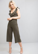 Plunge Frill Culotte Jumpsuit Khaki