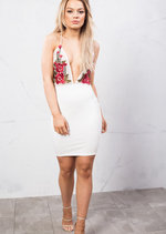 Plunge Neck Floral Embroidered Mesh Backless Bodycon Dress White