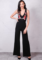 Plunge Neck Mesh With Embroidered Floral Motif Bodysuit Black