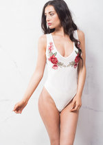 Plunge Neck Mesh With Embroidered Floral Motif Bodysuit White