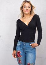 Plunge Neck Wrap Ribbed Jersey Over Long Sleeve Bodysuit Black