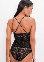 Plunge Sheer Lace Cross Back Bodysuit Black