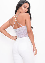 Plunge Sheer Lace Cross Back Bodysuit Lilac Purple