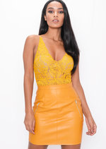 Plunge Sheer Lace Cross Back Bodysuit Mustard Yellow