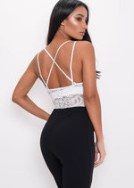 Plunge Sheer Lace Cross Back Bodysuit White