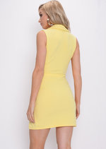 Plunge Sleeveless Mini Blazer Dress Yellow