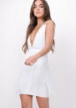 Plunge Tassel Detail Bodycon Dress White