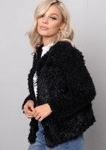 Plush Faux Fur Cropped Jacket Black