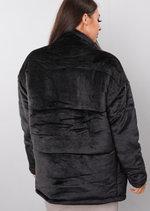 Plush Faux Fur Padded Puffer Jacket Coat Black