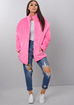 Plush Faux Fur Padded Puffer Jacket Coat Pink