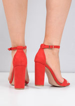 Pointed Strappy Chunky Heeled Sandals Faux Suede Red