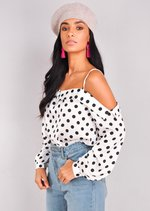 Polka Dot Long Sleeve Bardot Top White