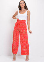 Polka Dot Pleated Wide Leg Culotte Trousers Red