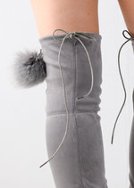 Pom Pom Detailed Suede Flat Over the Knee Boots Grey