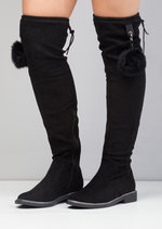 Pom Pom Detailed Suede Over The Knee Boots Black