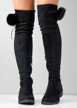 Pom Pom Suede Flat Over the Knee Boots Black
