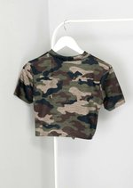 Queen Slogan Camouflage Cropped T-Shirt Green