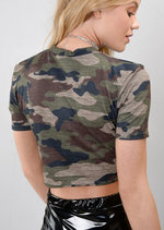 Queen Slogan Camouflage Cropped Tee T-Shirt Green