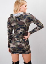 Queen Slogan Camouflage Hooded Longline Hoodie Green